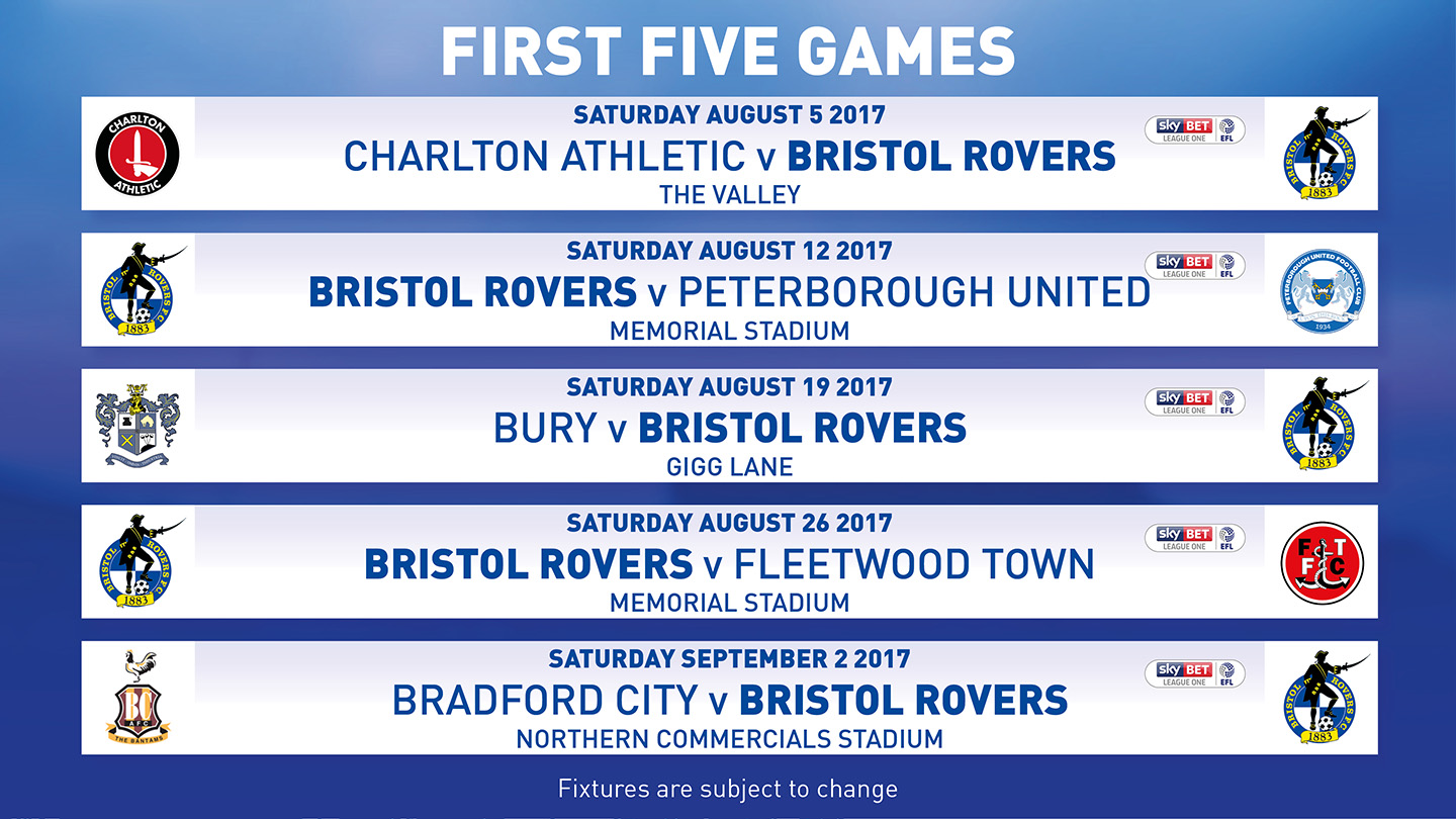 rovers first five fixtures of the 2017 18 season news. Black Bedroom Furniture Sets. Home Design Ideas