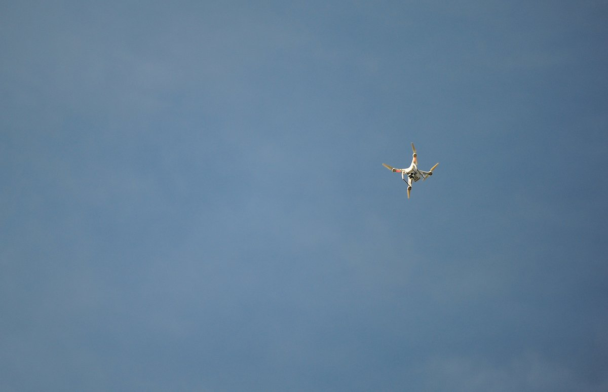A drone hovers above the pitch at Bradford City last season